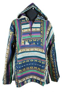 Hippy Top~Unisex Ethnic Pattern Hooded Jacket Thick Cotton Toggle Neck Assorted Colours~Fair Trade by Folio gothic Hippy FX400A